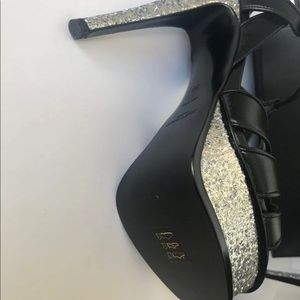 Yves Saint Laurent Shoes - YSL Black & Silver Glitter Tribute 105 Heels ❤️❤️
